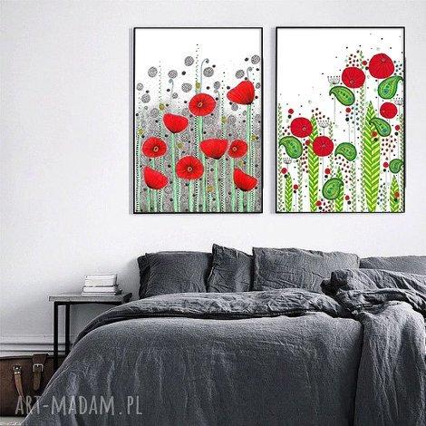 zestaw 2 prac 60x90cm, kwiaty, kwiat, maki, plakat, grafika, łąka