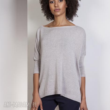 swetry sweter oversize, swe114 szary, sweter, lekki, elegancki
