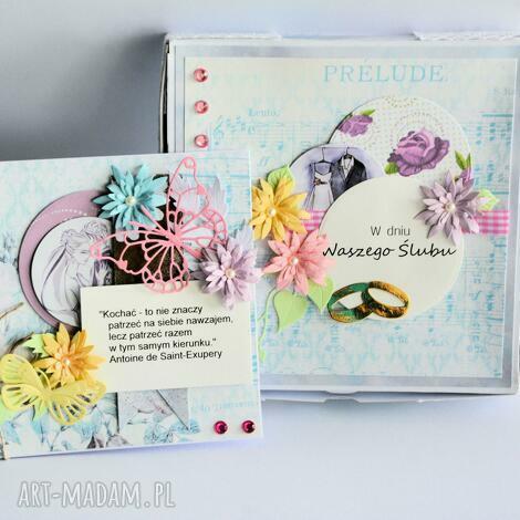 kartka z pudełkiem - w dniu waszego Ślubu - kartka, pudełko, ślub