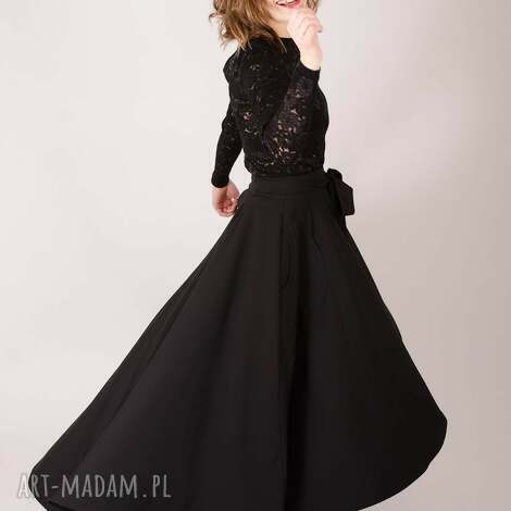 spódnice czarna spódnica maxi z koła, elegancka, prosta, dopasowana, maxi, rozłożysta