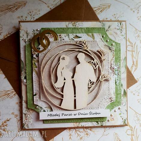 kartka ślubna w zieleniach (ślub obrączki, para młoda, prezent)