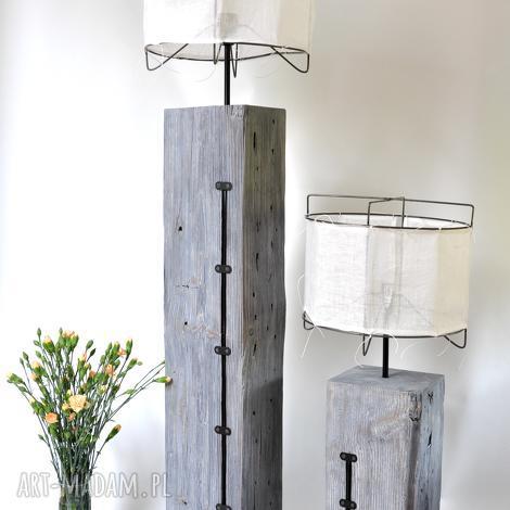 lampa z 90-letniej belki - duża, wysoka, stara, drewno, salonowa, len, loft