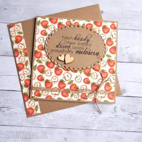 kartka ślubna - jabłuszka, ślub, ślubna, jabłko