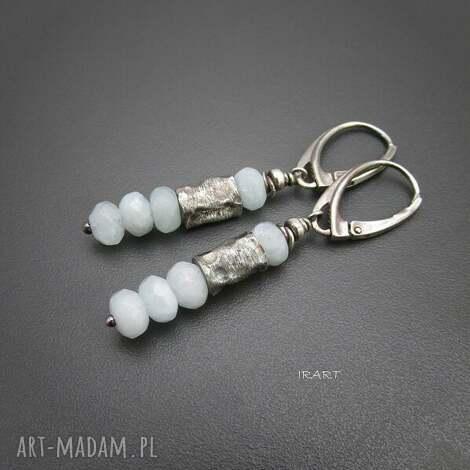 kolczyki z akwamarynu i walcami, akwamaryn, srebro biżuteria