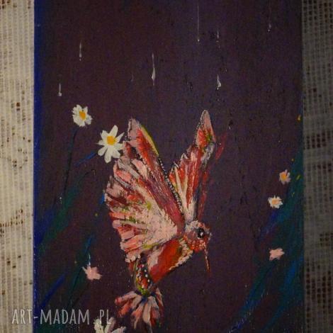 koliber nocny - drewniane pudełko ręcznie malowane, koliber, księżyc, noc, puzderko