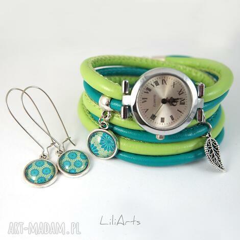 zegarki komplet - zegarek i kolczyki turkusowo, zielony owijany, rzemienie