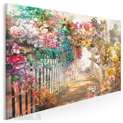 obraz na płótnie - kwiaty ogród aleja 120x80 cm 79501, kwiaty, ogród