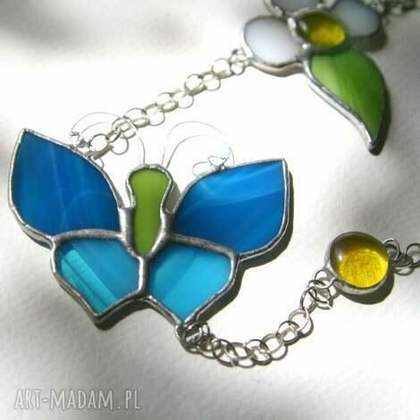 witraże zawieszka witrażowa z niebieskim motylem, zawieszka, motyle, okno, prezent