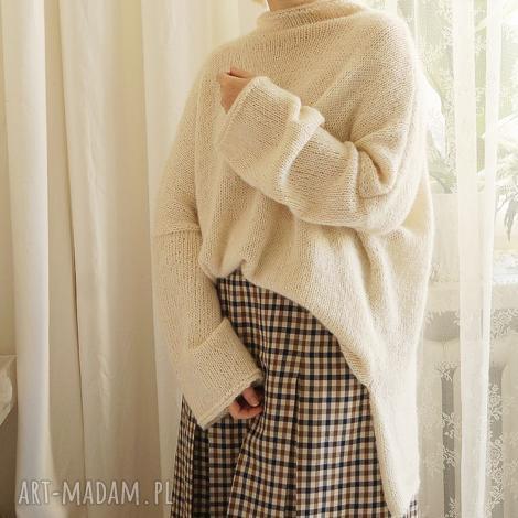 swetry sweter oversize - ecru, sweter, dziergany, jedwabny, wełniany