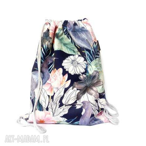 worek plecak welurowy czaple, plecak, worek, kwiaty, welurowy, ptaki, święta