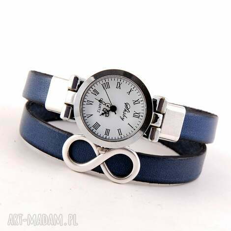 megi mikos zegarek - bransoletka, nieskończoność, pasek ze skóry naturalnej
