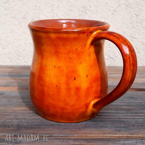 oryginalny prezent, gliniakimacieja kubek pomarańczowy, kubek, ceramika, glina