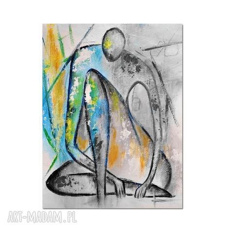marceau, nowoczesny obraz ręcznie malowany, postać, abstrakcja, autorski, malowany