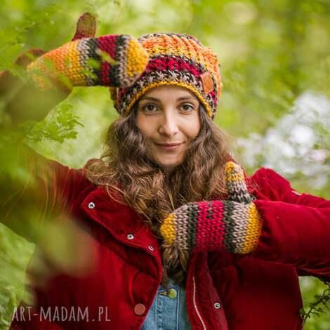rękawiczki jesień - na zime, old school ciepłe, ze sznurkiem, wełniane