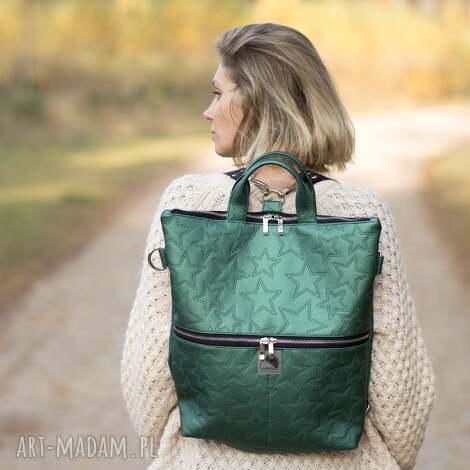 torba / plecak 2 w 1 z zielonej skóry ekologicznej, pikowana, ekologiczna