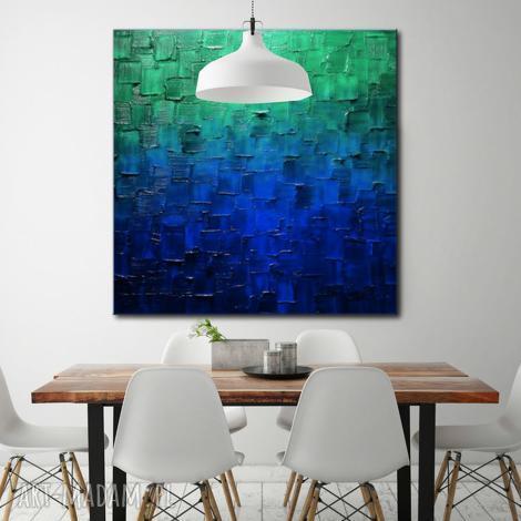 turkusowy obraz abstrakcyjny, obrazy do salonu, obrazy nowoczesne, obraz na ścianę