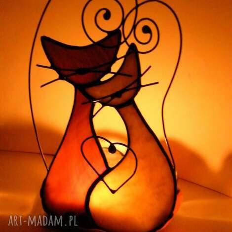 świeczniki świecznik z brązowymi kotami, witrażowy