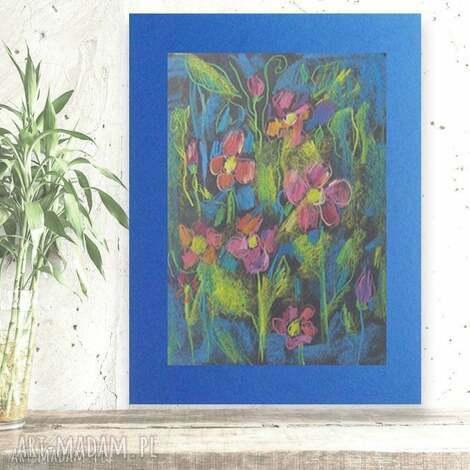kolorowy rysunek z kwiatami, kwiaty rysunek, łąka obrazek
