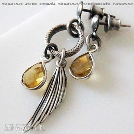 srebro, kolczyki -fasetowane cytryny w srebrnej oprawie, skrzydła