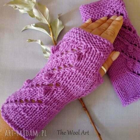 rękawiczki mitenki - rękawiczki, mitenki, wełniane, ocieplacze, na drutach