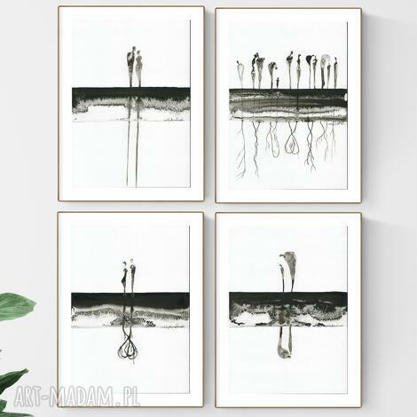 zestaw 4 grafik a4 wykonanych ręcznie, abstrakcja, elegancki minimalizm, obraz
