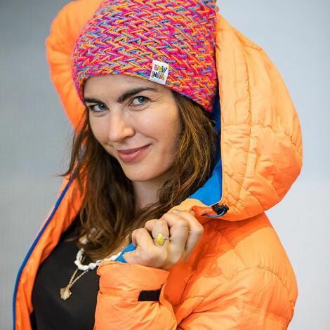 Brain Inside: explorer tropiki, kolorowa czapka, na zime ocieplana, zimowa ciepła