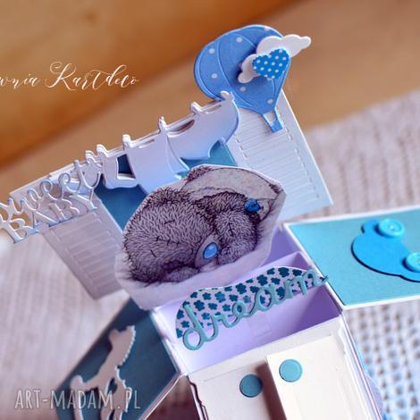 karta - pudełko w dniu chrztu świętego, chrzest, miś, chłopiec, pudełko