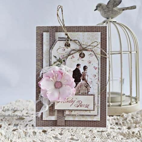 kartka ślubna - kartka-ślubna, młodej-parze, ślub, kartka, scrapbooking