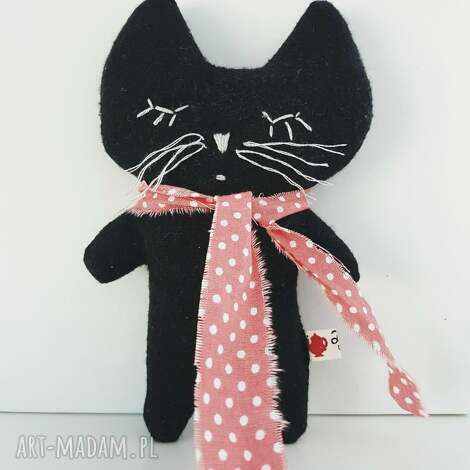 czarny kotek przytulaczek - cat, kot, kotek, mięciutki, zabawka, lalka