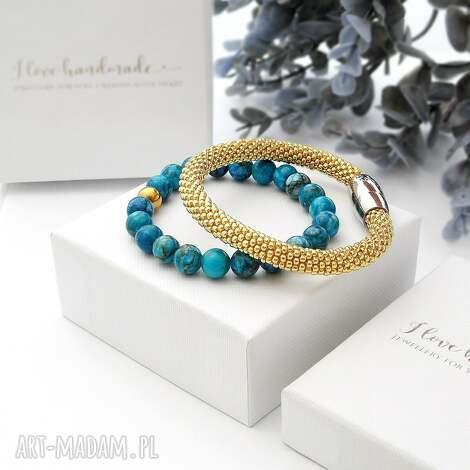 zestaw bransoletek elegance set - jaspis, piękne-bransoletki, modna-biżuteria
