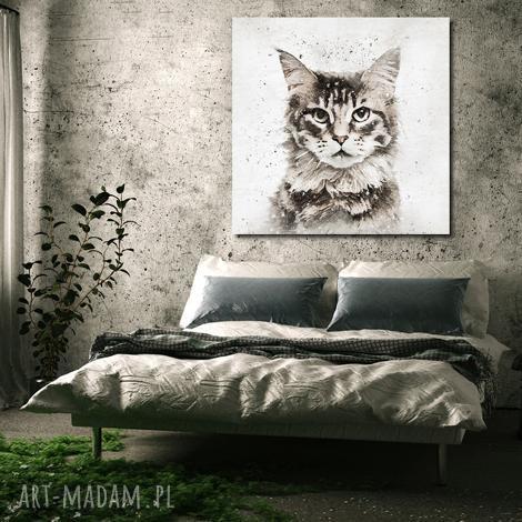 obraz xxl kot 2 - 100x100cm na płótnie modern, obraz, kot, zwierzęta, modern