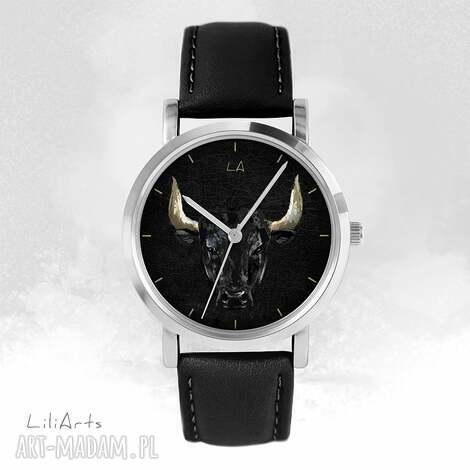 zegarek - byk czarny, skórzany, unisex, zegarek, bransoletka, męski