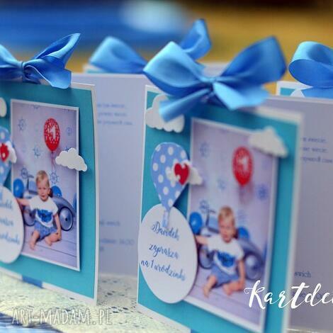 zaproszenia ze zdjęciem i balonkiem w kropki, zaproszenia, urodzinki