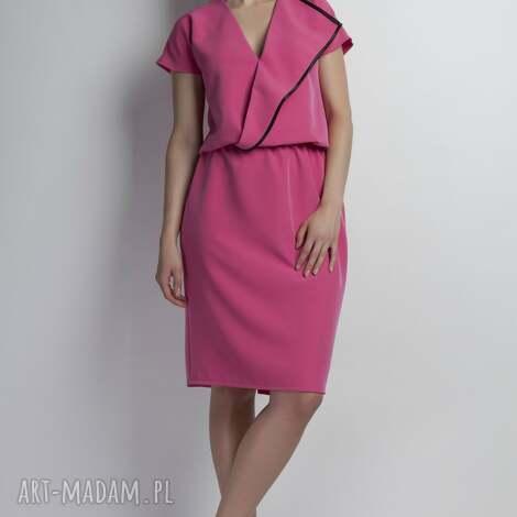 sukienki sukienka, suk119 róż, asymetryczna, lamówka, midi, różowa, komunia