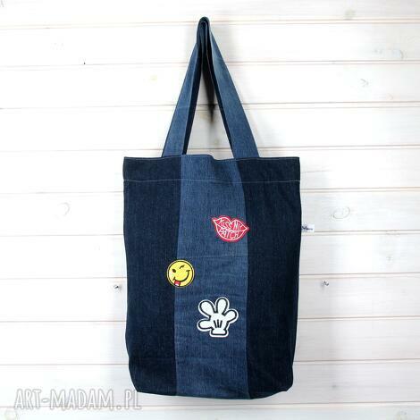 dżinsowa torba z naszywkami na ramię bardzo pojemna, torba, dżinsowa, naszywki