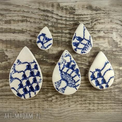 magnesy ceramiczne kropla wody z fakturą koronki, magnesy, lodówka, kuchnia, prezent