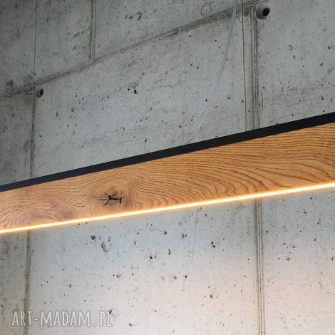lampa rift-120cm-dąb-góra i dół - listwa czarna, wyspę, biurko, stół, liniowa