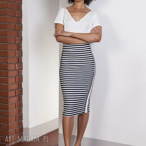 spódnice ołówkowa spódnica midi z lampasami, sp117 paski, spódnica