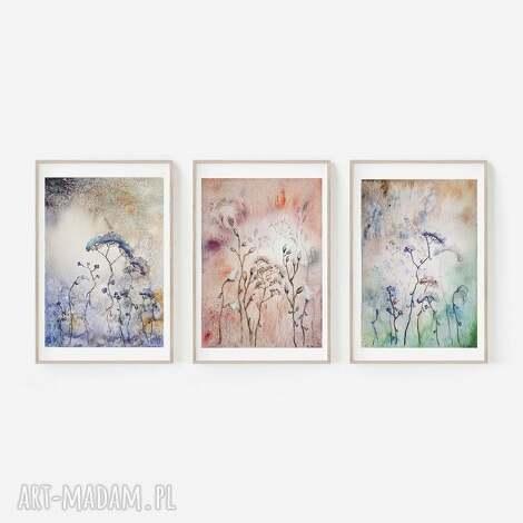 Paulina Lebida: trzy akwarele-sowy, akwarela, trawy łąka