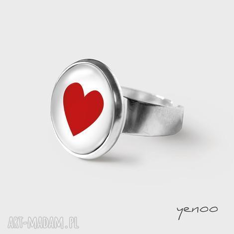 pierścionki pierścionek - czerwone serce, pierścionek, grafika, szkło, serce