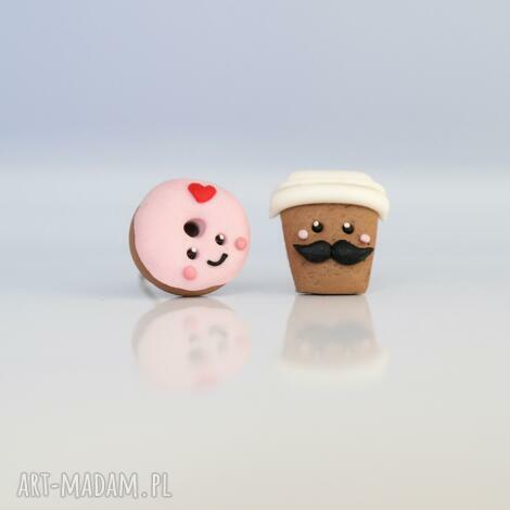 pan kawa i pani donut - forever love kolczyki wkręty, donut, donuty, pączek