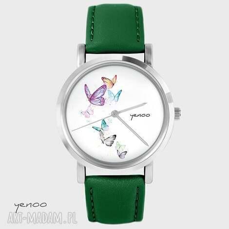 zegarki zegarek - motyle skórzany, zielony, zegarek, bransoletka, skórzany