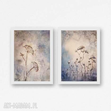 zimowe trawy-dwie akwarele - każda formatu a5, akwarela, zima, trawy