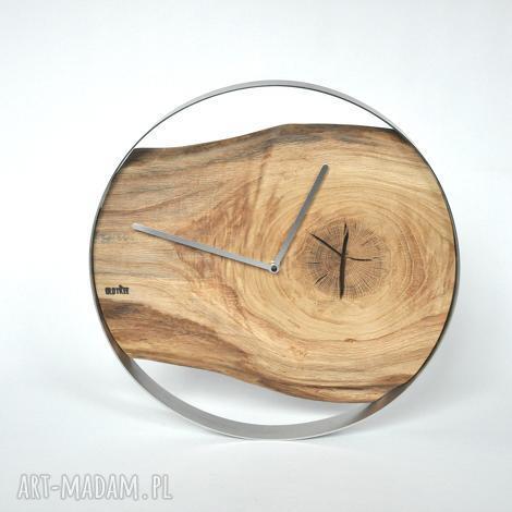 zegar loft - dębowy w stalowej obręczy 40cm, drewno, stal, loft, dębowy, scienny