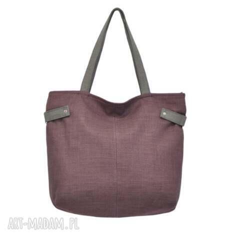 na ramię 18-0022 fioletowa torba damska worek xxl zakupy peacock, markowe, modne