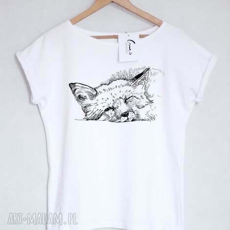 koszulki lis koszulka bawełniana biała s/m, koszulka, nadruk, lis, bawełniana, t