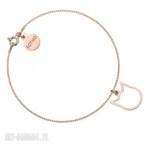 bransoletka z różowego złota delikatnym kotkiem, bransoletka, srebro, pozłacana