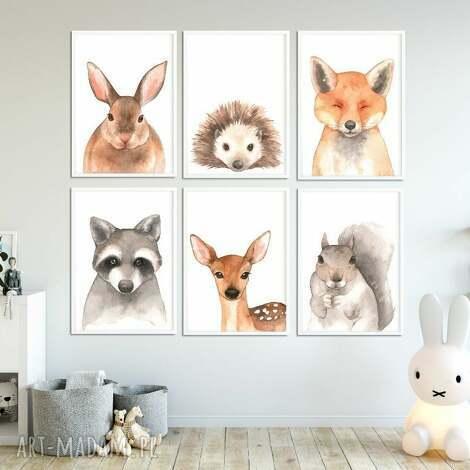 galeria 6 obrazków ze zwierzakami a4 las - obrazki, plakaty, galeria, zwierzaki, las