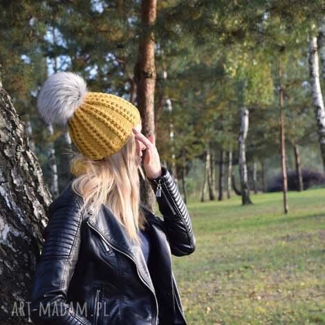 czapka musztarda merynos damska, wełniana, zimowa, dziergana ciepła, warkoczem