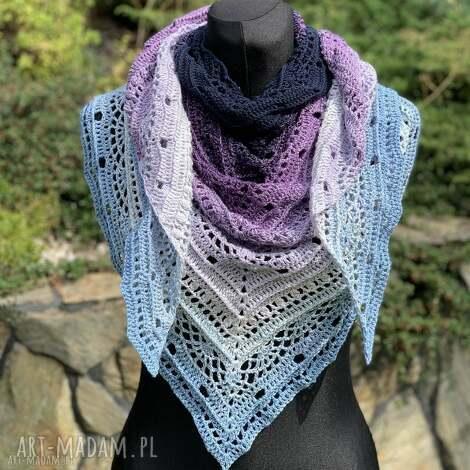 ręcznie wykonana chusta w odcieniach błękitu i fioletu nina - od ręki